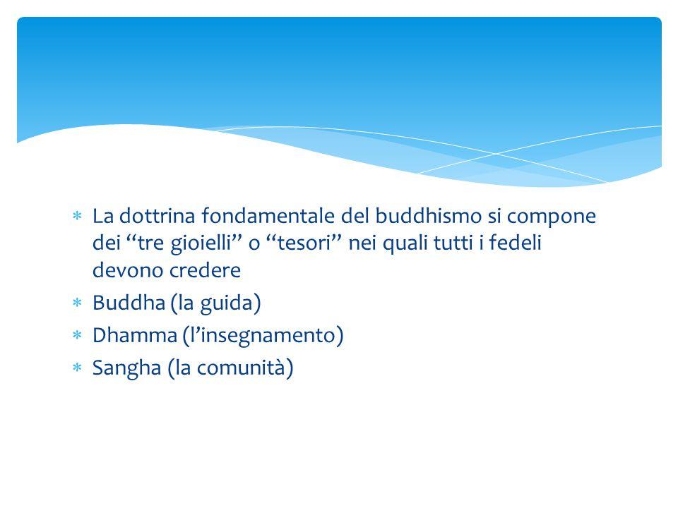 """ La dottrina fondamentale del buddhismo si compone dei """"tre gioielli"""" o """"tesori"""" nei quali tutti i fedeli devono credere  Buddha (la guida)  Dhamma"""
