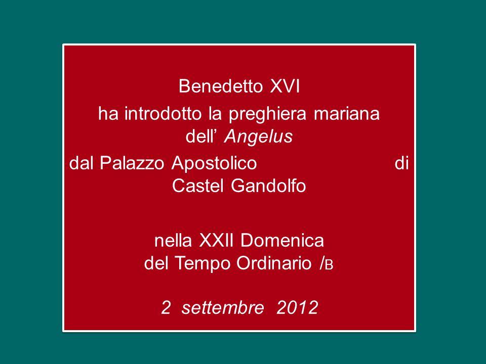 Benedetto XVI ha introdotto la preghiera mariana dell' Angelus dal Palazzo Apostolico di Castel Gandolfo nella XXII Domenica del Tempo Ordinario / B 2 settembre 2012 Benedetto XVI ha introdotto la preghiera mariana dell' Angelus dal Palazzo Apostolico di Castel Gandolfo nella XXII Domenica del Tempo Ordinario / B 2 settembre 2012