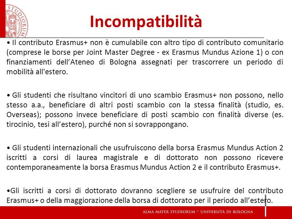 Incompatibilità Il contributo Erasmus+ non è cumulabile con altro tipo di contributo comunitario (comprese le borse per Joint Master Degree - ex Erasmus Mundus Azione 1) o con finanziamenti dell'Ateneo di Bologna assegnati per trascorrere un periodo di mobilità all estero.