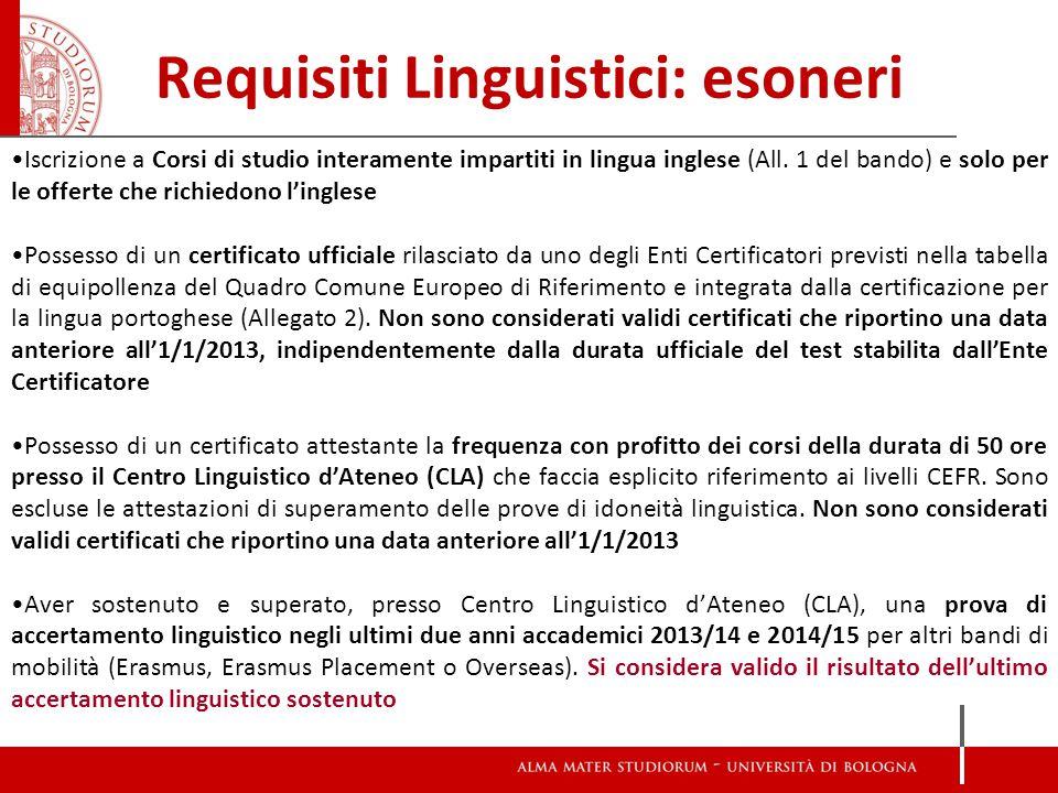 Requisiti Linguistici: esoneri Iscrizione a Corsi di studio interamente impartiti in lingua inglese (All.