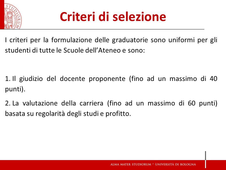 Criteri di selezione I criteri per la formulazione delle graduatorie sono uniformi per gli studenti di tutte le Scuole dell'Ateneo e sono: 1.