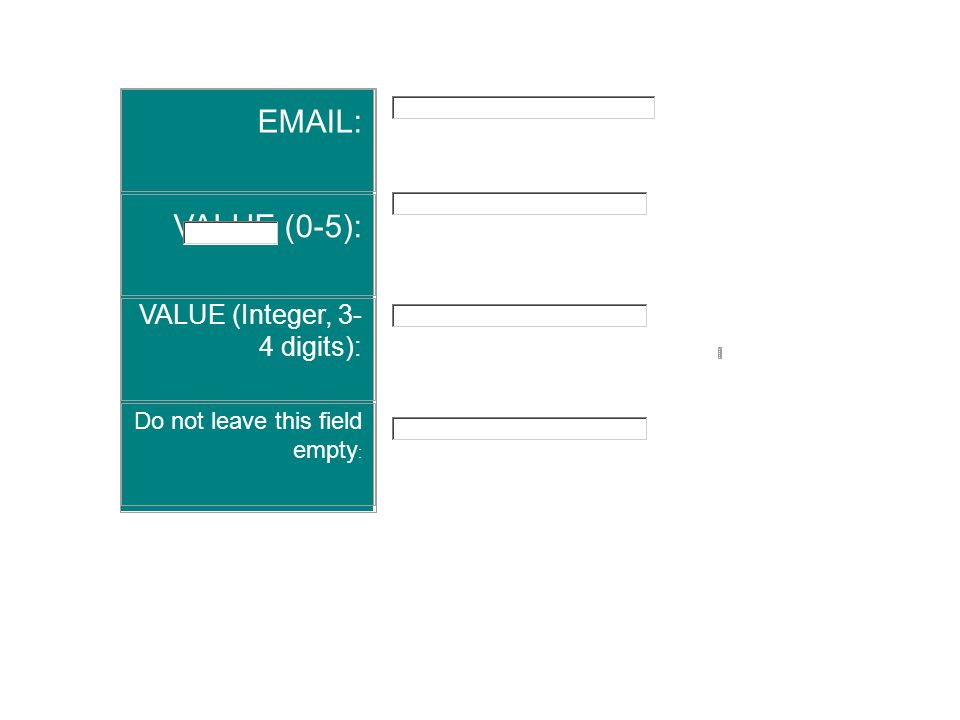EMAIL: VALUE (0-5): VALUE (Integer, 3- 4 digits): Do not leave this field empty :