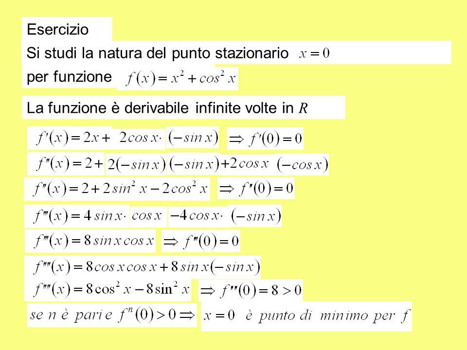 Esercizio Si studi la natura del punto stazionario per funzione La funzione è derivabile infinite volte in R