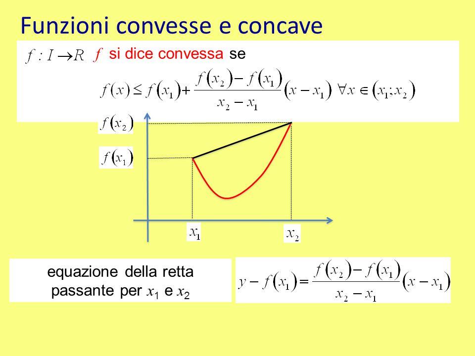 Funzioni convesse e concave f si dice concava in ( x 1 ; x 2 ) se equazione della retta passante per x 1 e x 2