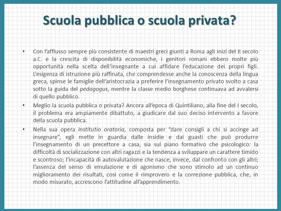 Scuola pubblica o scuola privata? Con l'afflusso sempre più consistente di maestri greci giunti a Roma agli inizi del II secolo a.C. e la crescita di