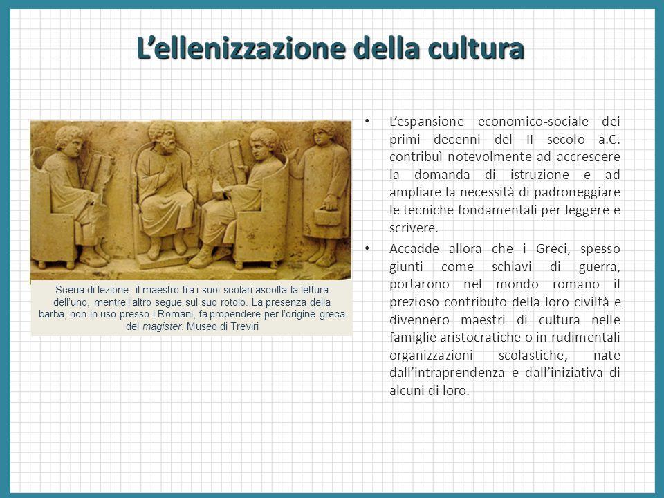 L'ellenizzazione della cultura L'espansione economico-sociale dei primi decenni del II secolo a.C. contribuì notevolmente ad accrescere la domanda di