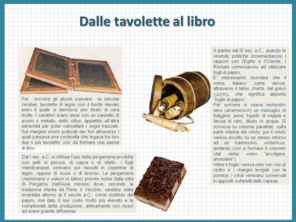 Dalle tavolette al libro Per scrivere gli alunni usavano la tabulae ceratae, tavolette di legno con il bordo rilevato entro il quale si stendeva uno s