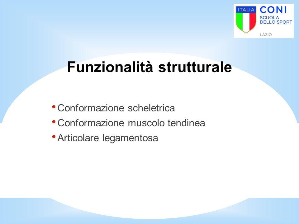 Funzionalità strutturale Conformazione scheletrica Conformazione muscolo tendinea Articolare legamentosa