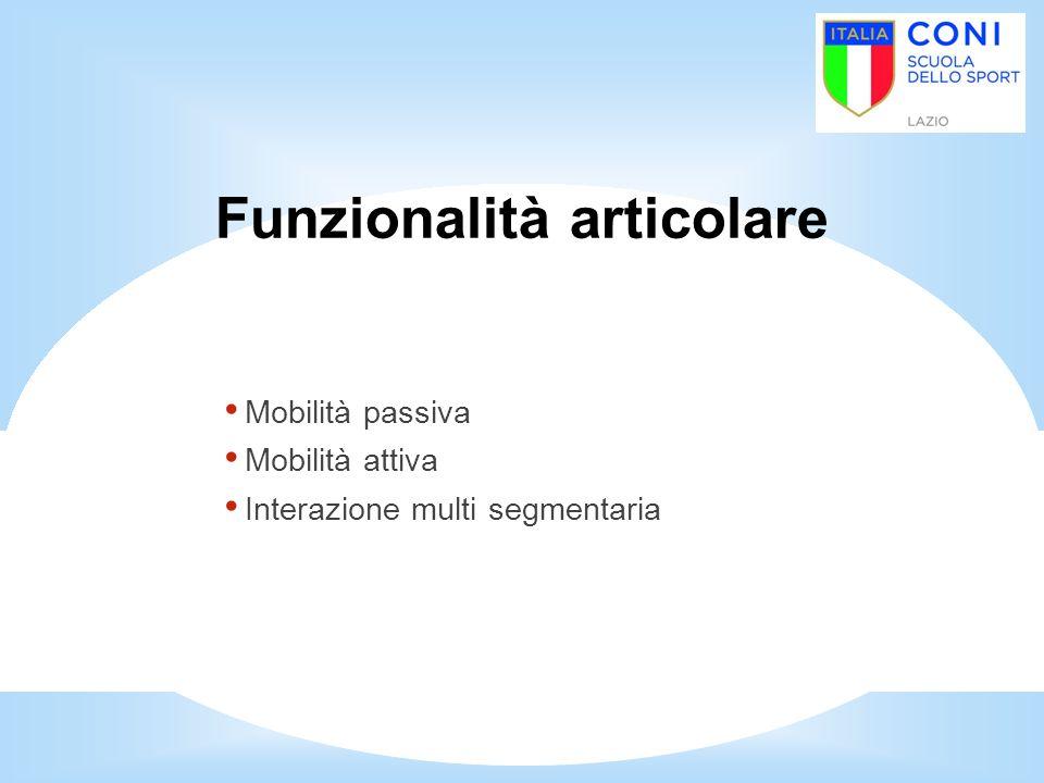 Funzionalità articolare Mobilità passiva Mobilità attiva Interazione multi segmentaria