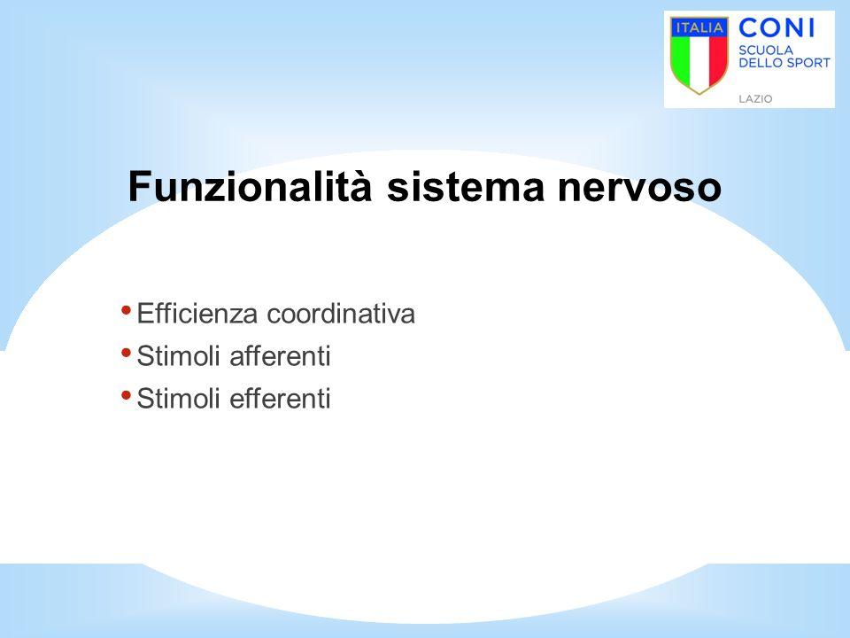 Funzionalità sistema nervoso Efficienza coordinativa Stimoli afferenti Stimoli efferenti