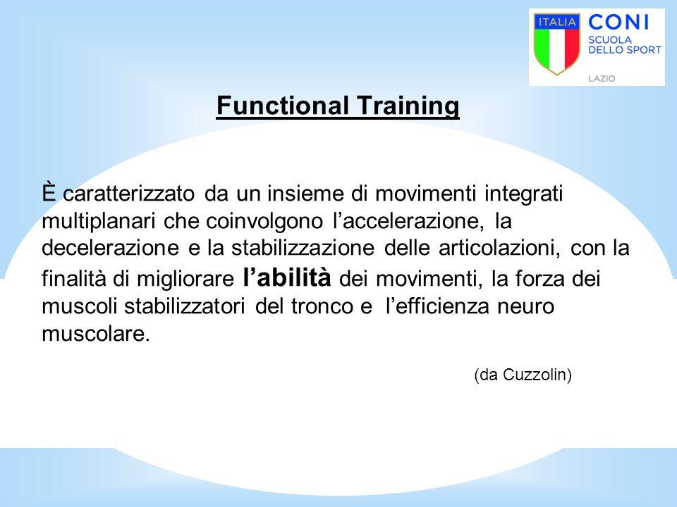 Functional Training È caratterizzato da un insieme di movimenti integrati multiplanari che coinvolgono l'accelerazione, la decelerazione e la stabiliz