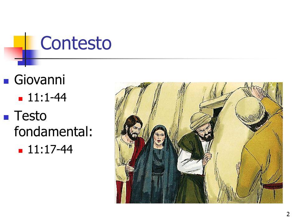 2 Contesto Giovanni 11:1-44 Testo fondamental: 11:17-44