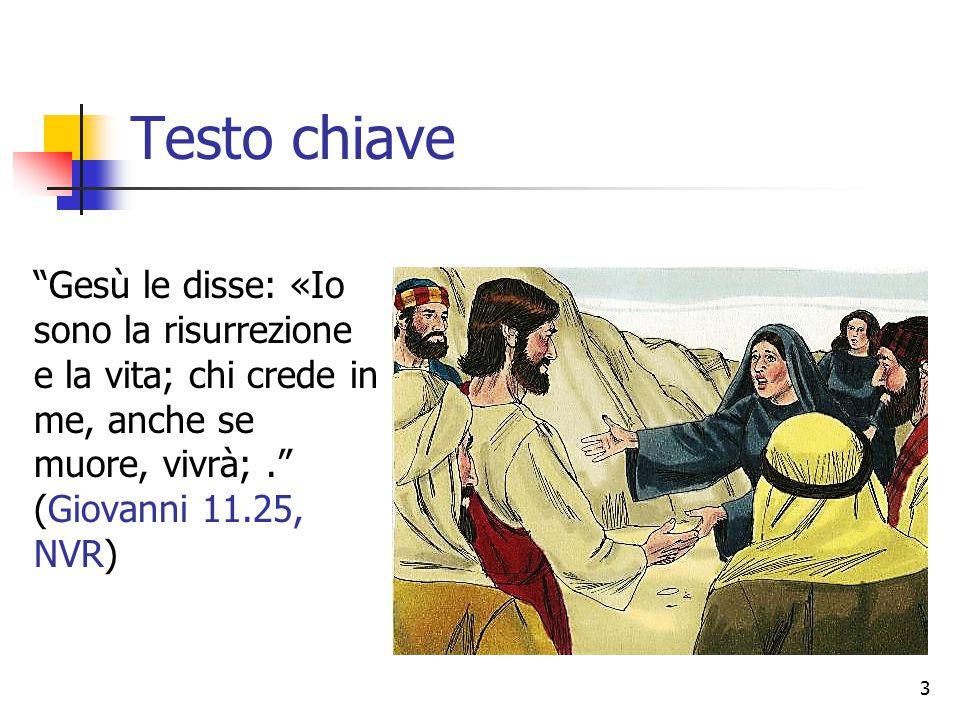 """Testo chiave """"Gesù le disse: «Io sono la risurrezione e la vita; chi crede in me, anche se muore, vivrà;."""" (Giovanni 11.25, NVR) 3"""