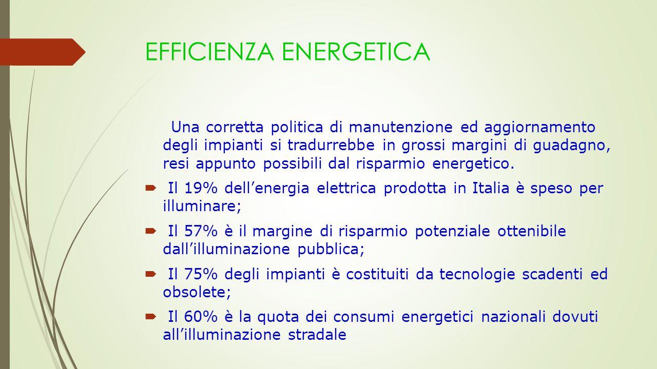 EFFICIENZA ENERGETICA Una corretta politica di manutenzione ed aggiornamento degli impianti si tradurrebbe in grossi margini di guadagno, resi appunto possibili dal risparmio energetico.