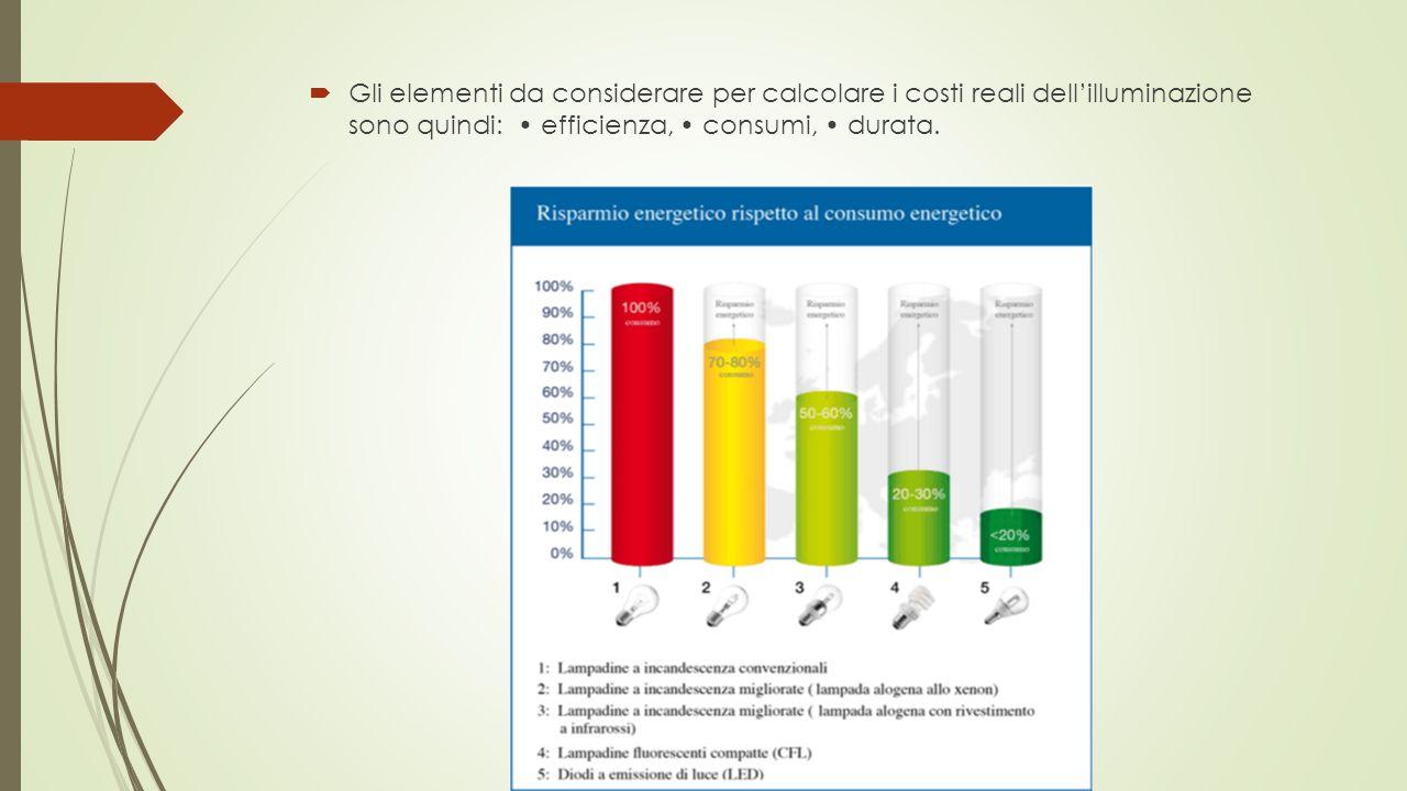  Gli elementi da considerare per calcolare i costi reali dell'illuminazione sono quindi: efficienza, consumi, durata.