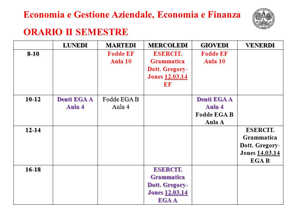 Economia e Gestione Aziendale, Economia e Finanza ORARIO II SEMESTRELUNEDIMARTEDIMERCOLEDIGIOVEDIVENERDI8-10Fodde EF Aula 10 ESERCIT. Grammatica Dott.