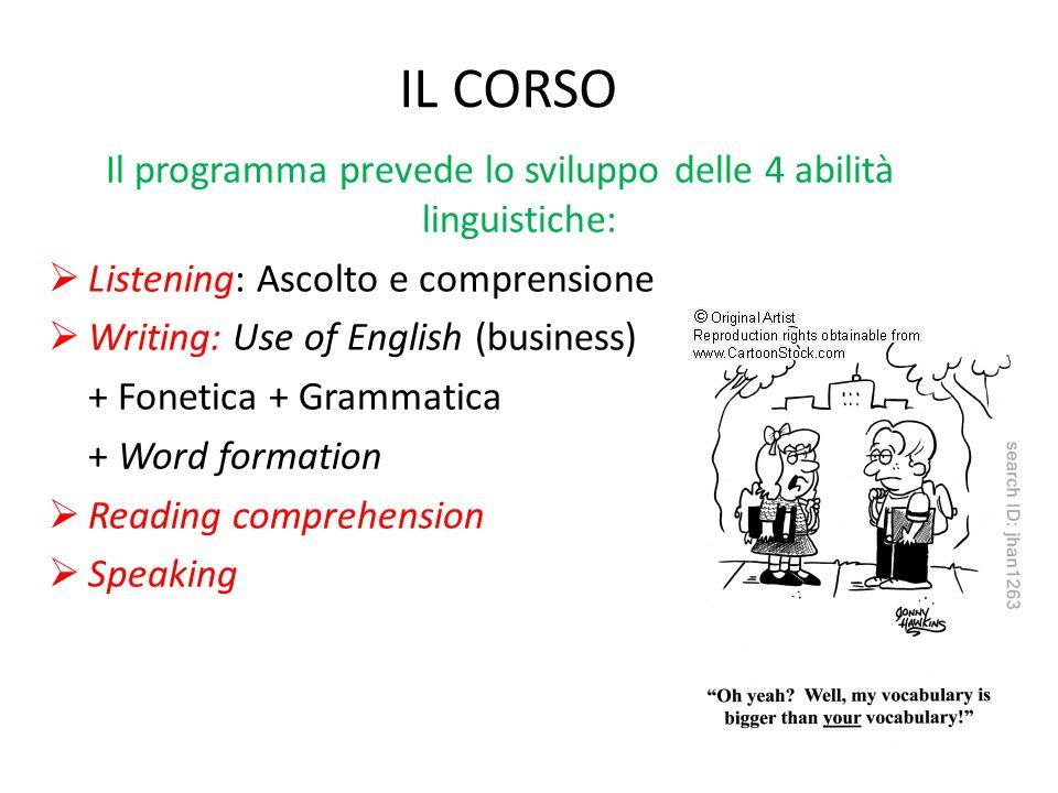 IL CORSO Il programma prevede lo sviluppo delle 4 abilità linguistiche:  Listening: Ascolto e comprensione  Writing: Use of English (business) + Fon