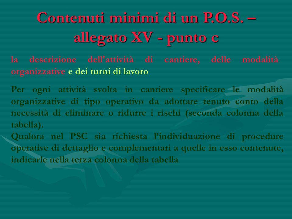 la descrizione dell'attività di cantiere, delle modalità organizzative e dei turni di lavoro Contenuti minimi di un P.O.S. – allegato XV - punto c Per