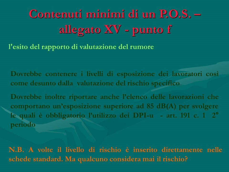 l'esito del rapporto di valutazione del rumore Contenuti minimi di un P.O.S. – allegato XV - punto f Dovrebbe contenere i livelli di esposizione dei l