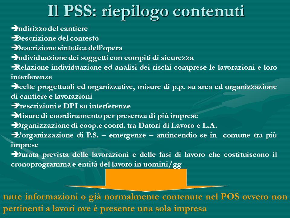 Il PSS: riepilogo contenuti  Indirizzo del cantiere  Descrizione del contesto  Descrizione sintetica dell'opera  Individuazione dei soggetti con c