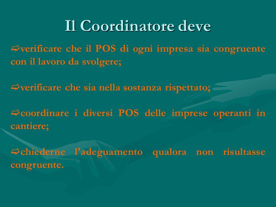 Il Coordinatore deve  verificare che il POS di ogni impresa sia congruente con il lavoro da svolgere;  verificare che sia nella sostanza rispettato;