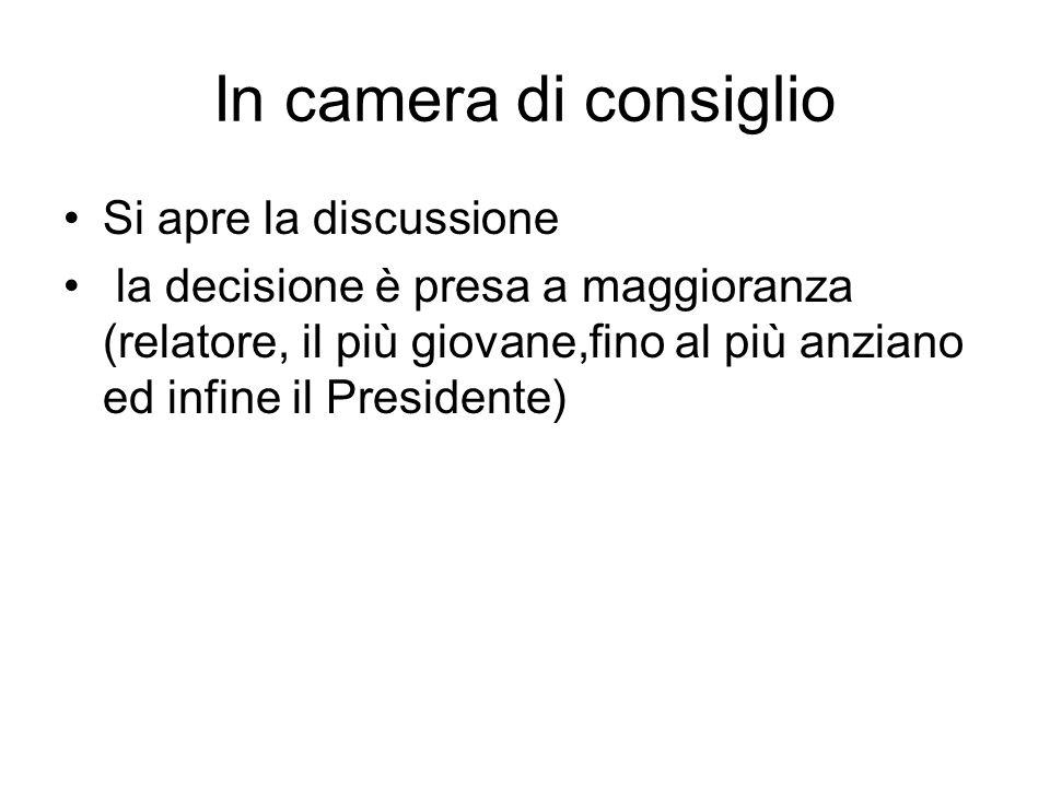 In camera di consiglio Si apre la discussione la decisione è presa a maggioranza (relatore, il più giovane,fino al più anziano ed infine il Presidente