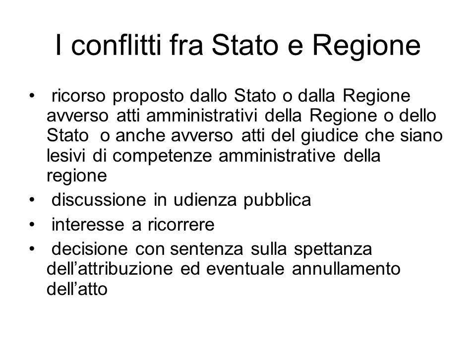 I conflitti fra Stato e Regione ricorso proposto dallo Stato o dalla Regione avverso atti amministrativi della Regione o dello Stato o anche avverso a