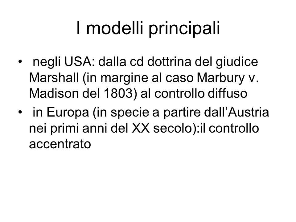 I modelli principali negli USA: dalla cd dottrina del giudice Marshall (in margine al caso Marbury v. Madison del 1803) al controllo diffuso in Europa