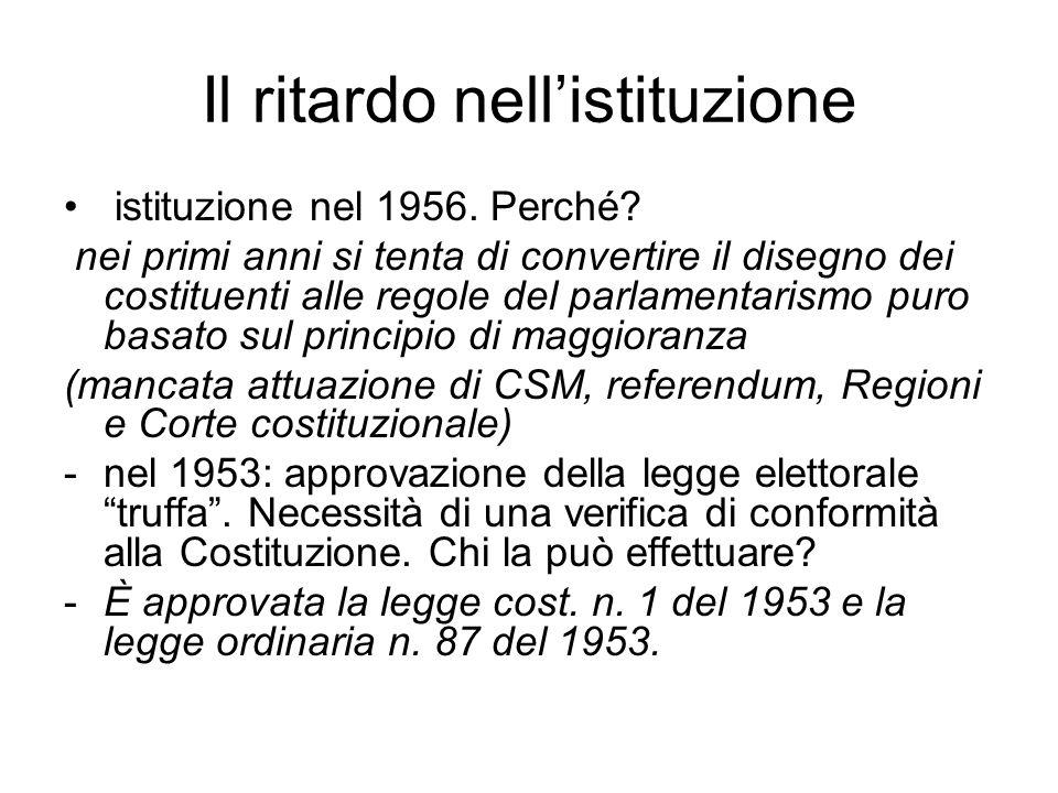Il ritardo nell'istituzione istituzione nel 1956. Perché? nei primi anni si tenta di convertire il disegno dei costituenti alle regole del parlamentar