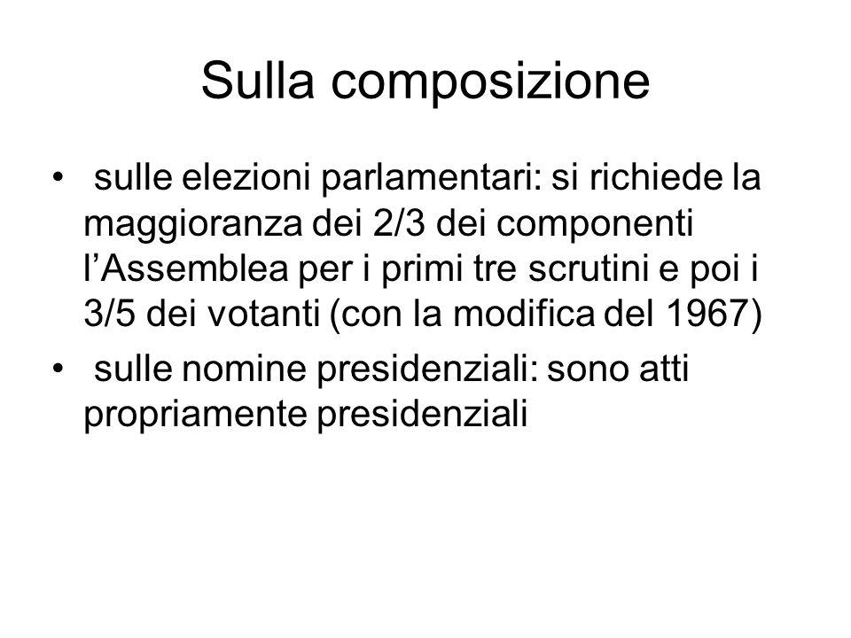 Sulla composizione sulle elezioni parlamentari: si richiede la maggioranza dei 2/3 dei componenti l'Assemblea per i primi tre scrutini e poi i 3/5 dei