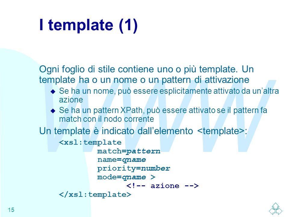 WWW 15 I template (1) Ogni foglio di stile contiene uno o più template.