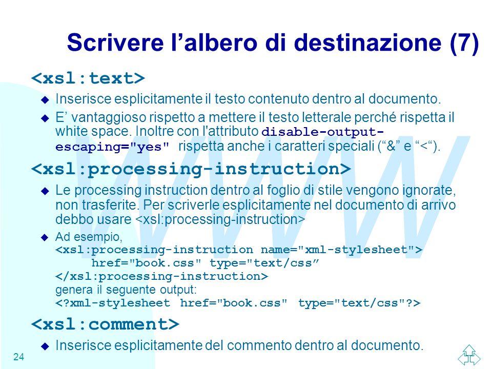 WWW 24 Scrivere l'albero di destinazione (7) u Inserisce esplicitamente il testo contenuto dentro al documento.