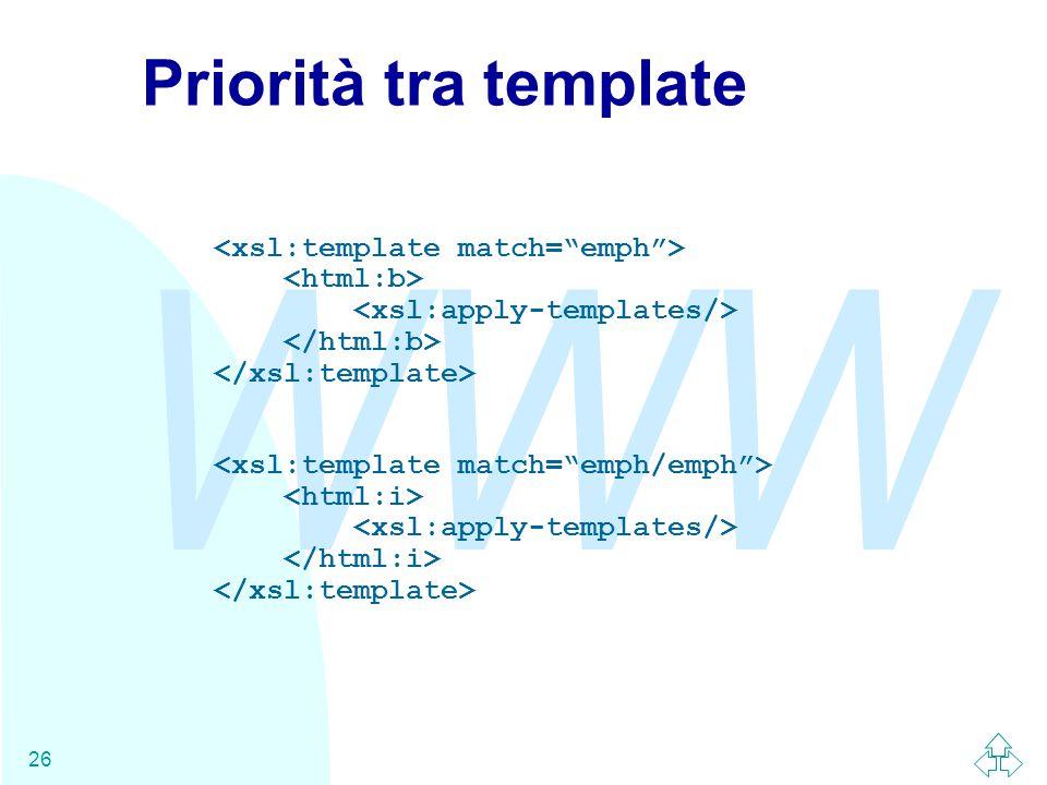 WWW 26 Priorità tra template