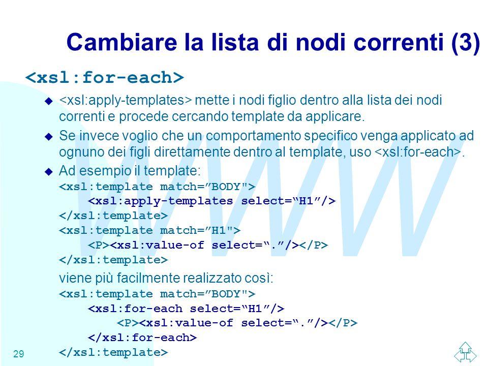 WWW 29 Cambiare la lista di nodi correnti (3) u mette i nodi figlio dentro alla lista dei nodi correnti e procede cercando template da applicare.