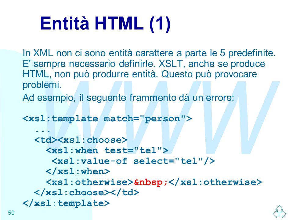 WWW 50 Entità HTML (1) In XML non ci sono entità carattere a parte le 5 predefinite.