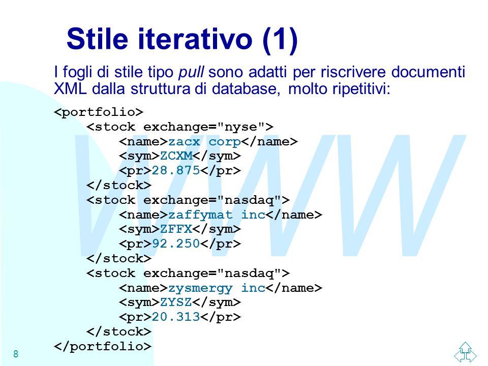 WWW 8 Stile iterativo (1) I fogli di stile tipo pull sono adatti per riscrivere documenti XML dalla struttura di database, molto ripetitivi: zacx corp ZCXM 28.875 zaffymat inc ZFFX 92.250 zysmergy inc ZYSZ 20.313