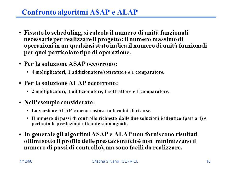 4/12/98Cristina Silvano - CEFRIEL16 Confronto algoritmi ASAP e ALAP Fissato lo scheduling, si calcola il numero di unità funzionali necessarie per realizzare il progetto: il numero massimo di operazioni in un qualsiasi stato indica il numero di unità funzionali per quel particolare tipo di operazione.
