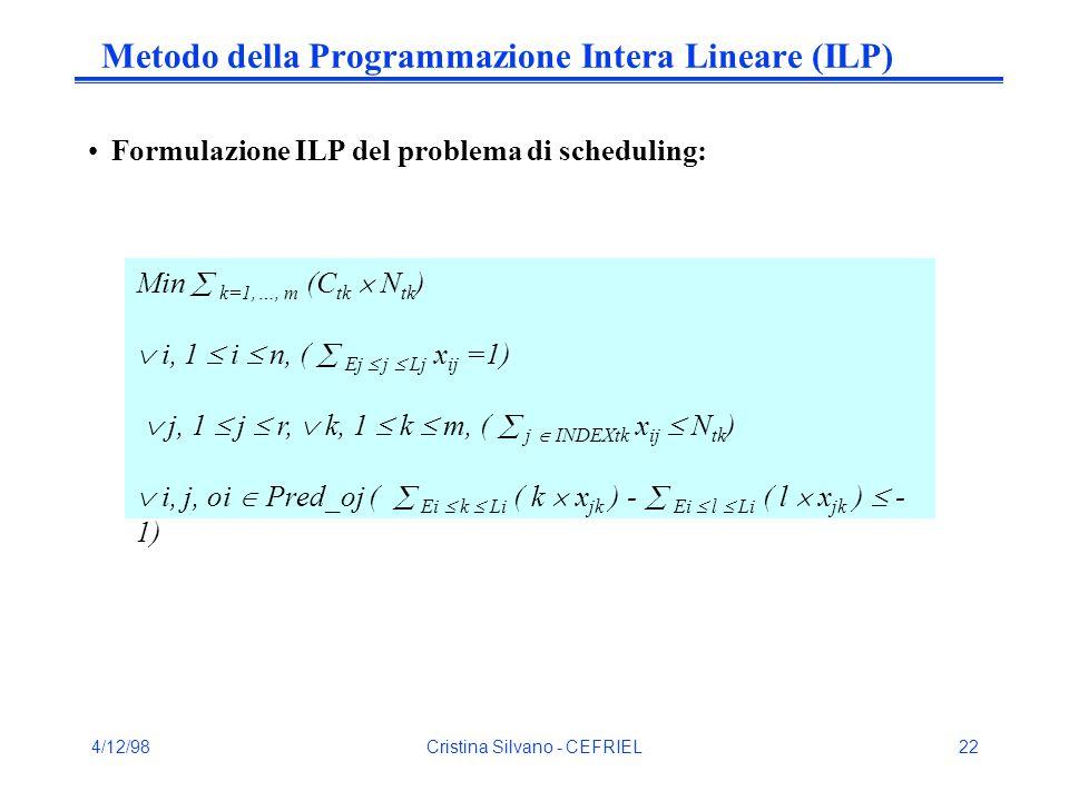 4/12/98Cristina Silvano - CEFRIEL22 Metodo della Programmazione Intera Lineare (ILP) Formulazione ILP del problema di scheduling: Min  k=1,…, m (C tk  N tk )  i, 1  i  n, (  Ej  j  Lj x ij =1)  j, 1  j  r,  k, 1  k  m, (  j  INDEXtk x ij  N tk )  i, j, oi  Pred_oj (  Ei  k  Li ( k  x jk ) -  Ei  l  Li ( l  x jk )  - 1)