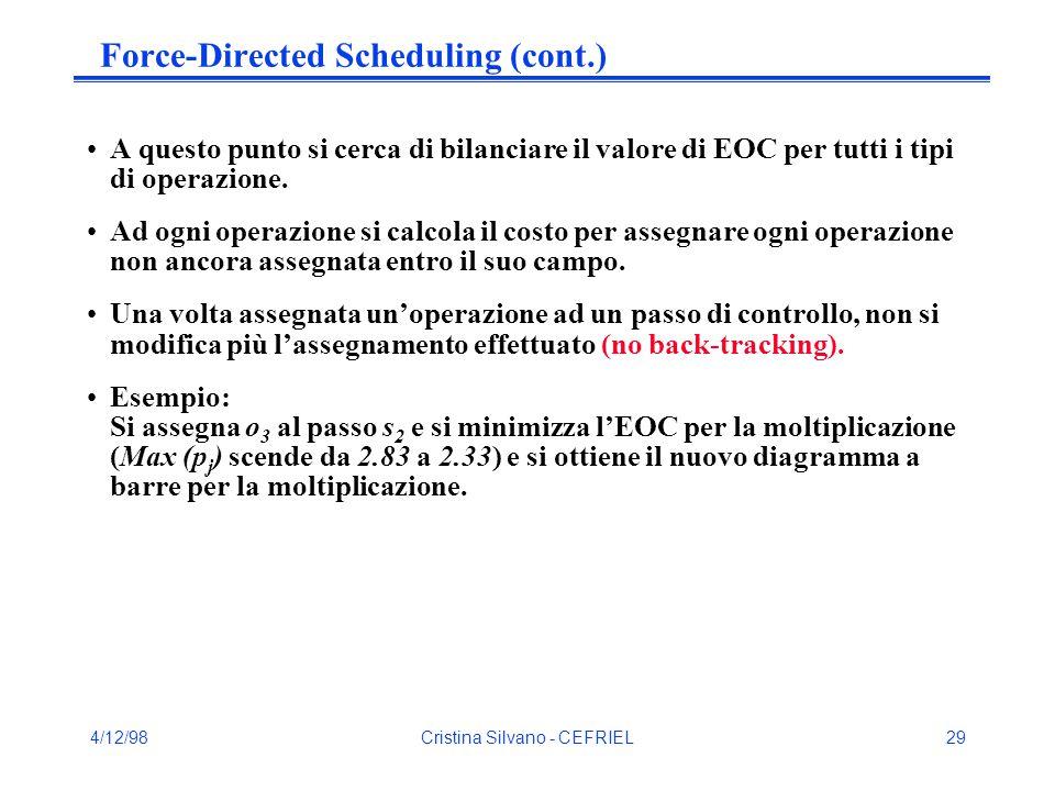 4/12/98Cristina Silvano - CEFRIEL29 Force-Directed Scheduling (cont.) A questo punto si cerca di bilanciare il valore di EOC per tutti i tipi di operazione.