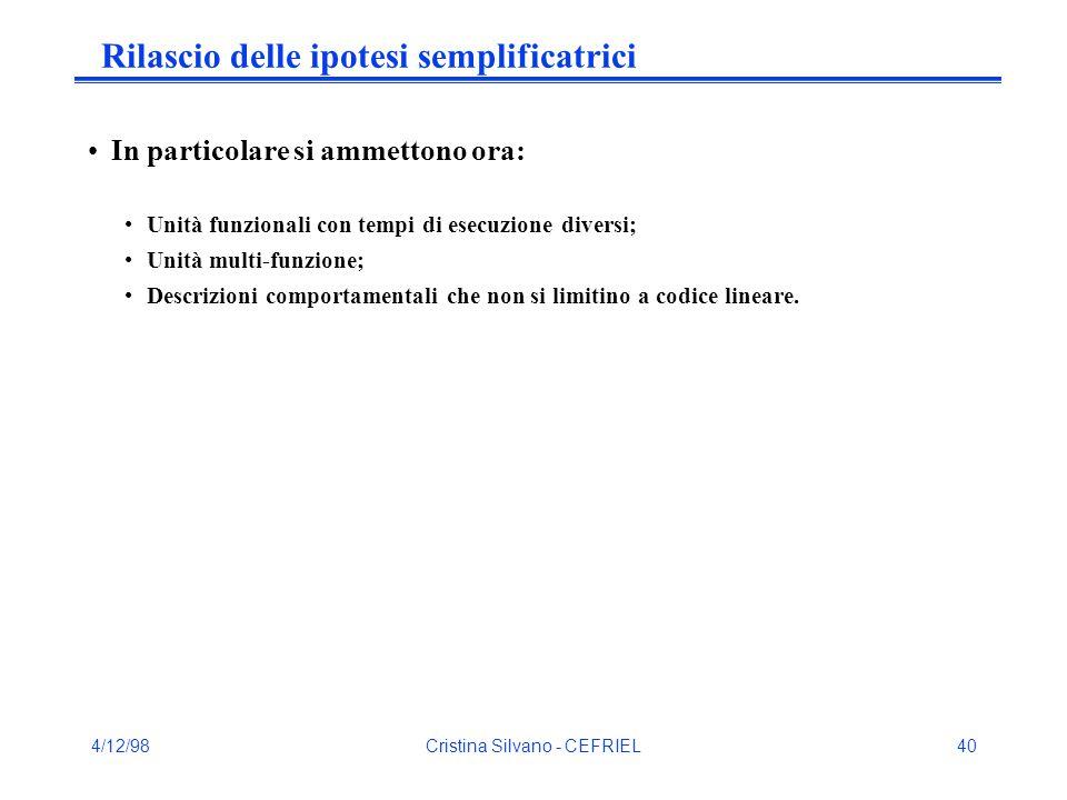 4/12/98Cristina Silvano - CEFRIEL40 Rilascio delle ipotesi semplificatrici In particolare si ammettono ora: Unità funzionali con tempi di esecuzione diversi; Unità multi-funzione; Descrizioni comportamentali che non si limitino a codice lineare.