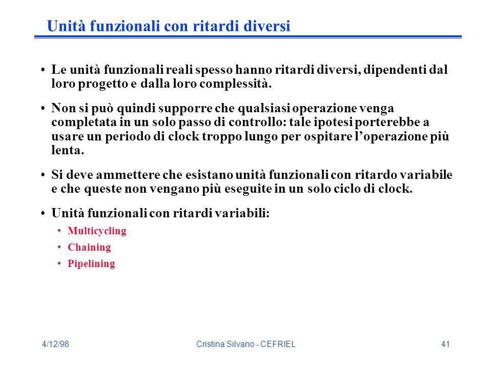 4/12/98Cristina Silvano - CEFRIEL41 Unità funzionali con ritardi diversi Le unità funzionali reali spesso hanno ritardi diversi, dipendenti dal loro progetto e dalla loro complessità.