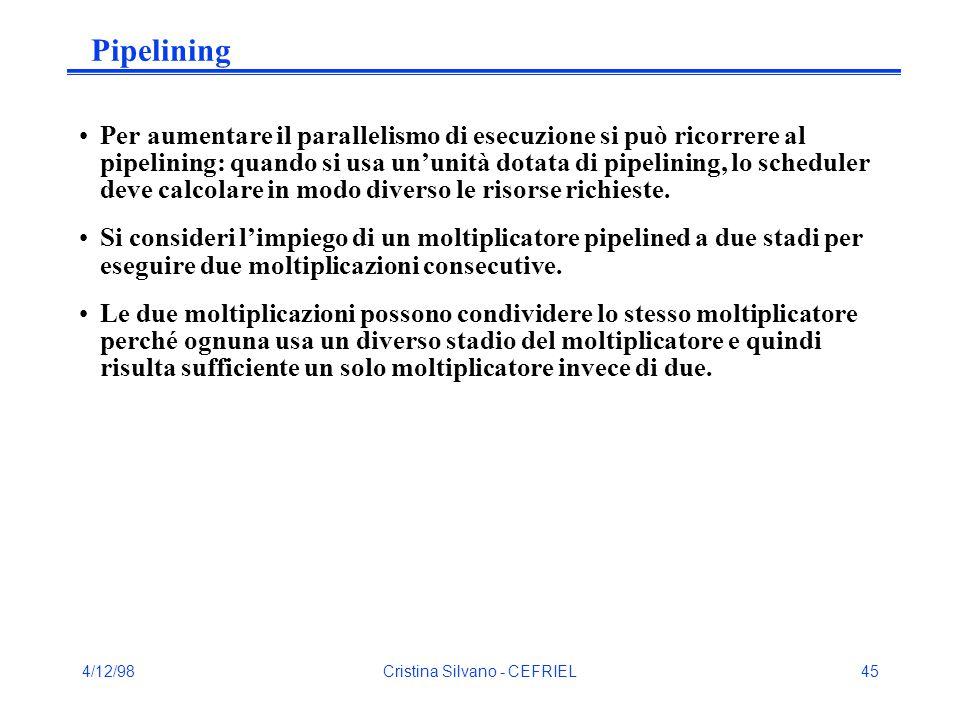 4/12/98Cristina Silvano - CEFRIEL45 Pipelining Per aumentare il parallelismo di esecuzione si può ricorrere al pipelining: quando si usa un'unità dotata di pipelining, lo scheduler deve calcolare in modo diverso le risorse richieste.
