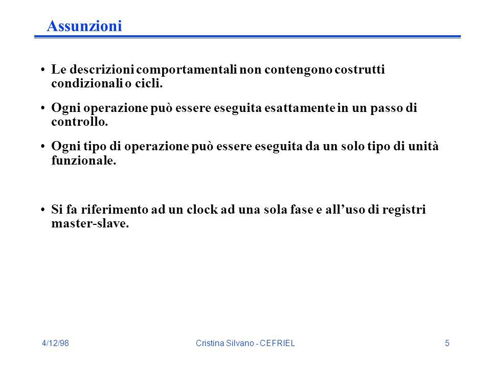 4/12/98Cristina Silvano - CEFRIEL6 Possibili strategie Si assume assegnata una libreria di unità funzionali e registri con caratteristiche note e definita la lunghezza del passo di controllo.