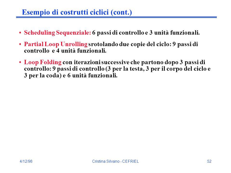 4/12/98Cristina Silvano - CEFRIEL52 Esempio di costrutti ciclici (cont.) Scheduling Sequenziale: 6 passi di controllo e 3 unità funzionali.