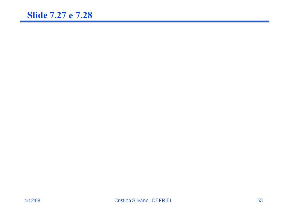 4/12/98Cristina Silvano - CEFRIEL53 Slide 7.27 e 7.28