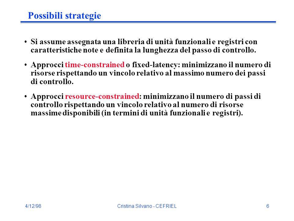 4/12/98Cristina Silvano - CEFRIEL27 Force-Directed Scheduling (cont.) Rappresentando per ogni tipo di operatore la probabilità con dei rettangoli la cui ampiezza è proporzionale al valore per lo stato corrispondente, si costruisce un diagramma a barre che rappresenta il costo previsto per l'operatore (EOC) nel rispettivo stato.