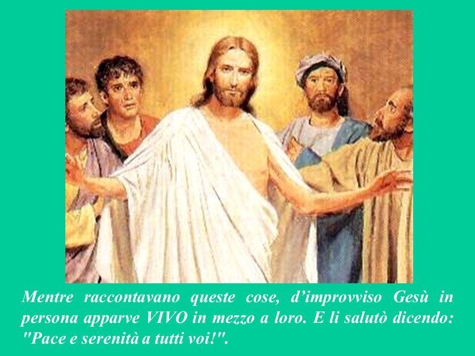 Mentre raccontavano queste cose, d'improvviso Gesù in persona apparve VIVO in mezzo a loro.
