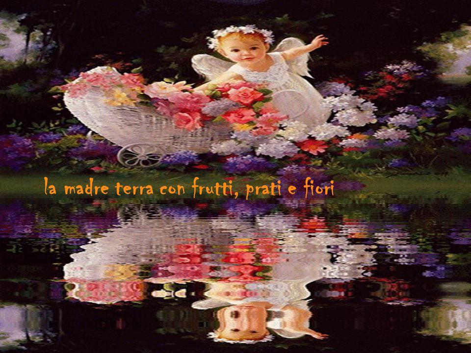 la madre terra con frutti, prati e fiori