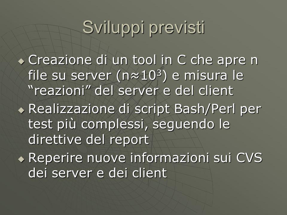 Sviluppi previsti  Creazione di un tool in C che apre n file su server (n≈10 3 ) e misura le reazioni del server e del client  Realizzazione di script Bash/Perl per test più complessi, seguendo le direttive del report  Reperire nuove informazioni sui CVS dei server e dei client