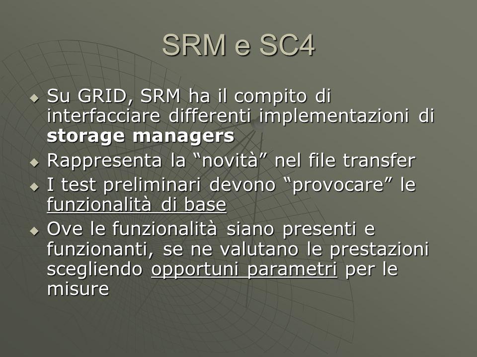 SRM e SC4  Su GRID, SRM ha il compito di interfacciare differenti implementazioni di storage managers  Rappresenta la novità nel file transfer  I test preliminari devono provocare le funzionalità di base  Ove le funzionalità siano presenti e funzionanti, se ne valutano le prestazioni scegliendo opportuni parametri per le misure